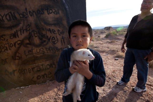 serita dale's grandson with his ferret